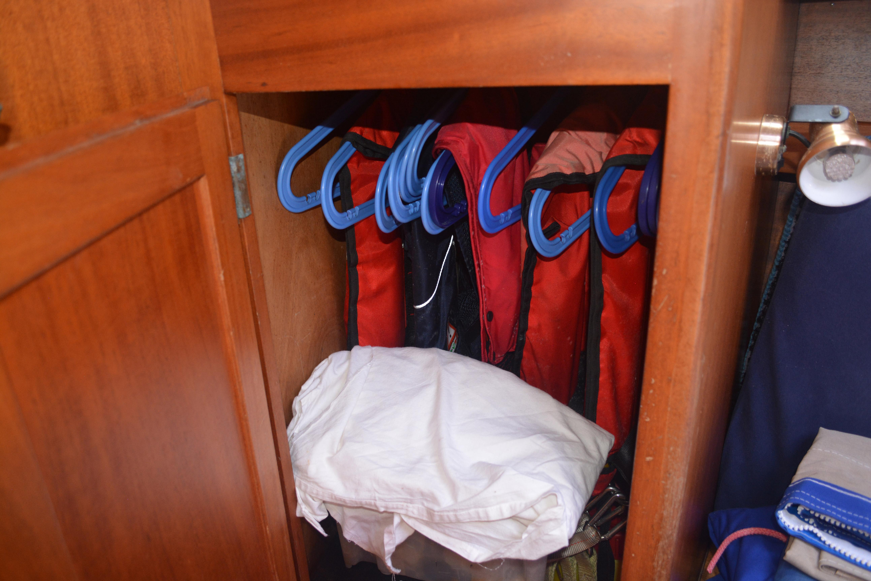 Hanging locker in Vee berth
