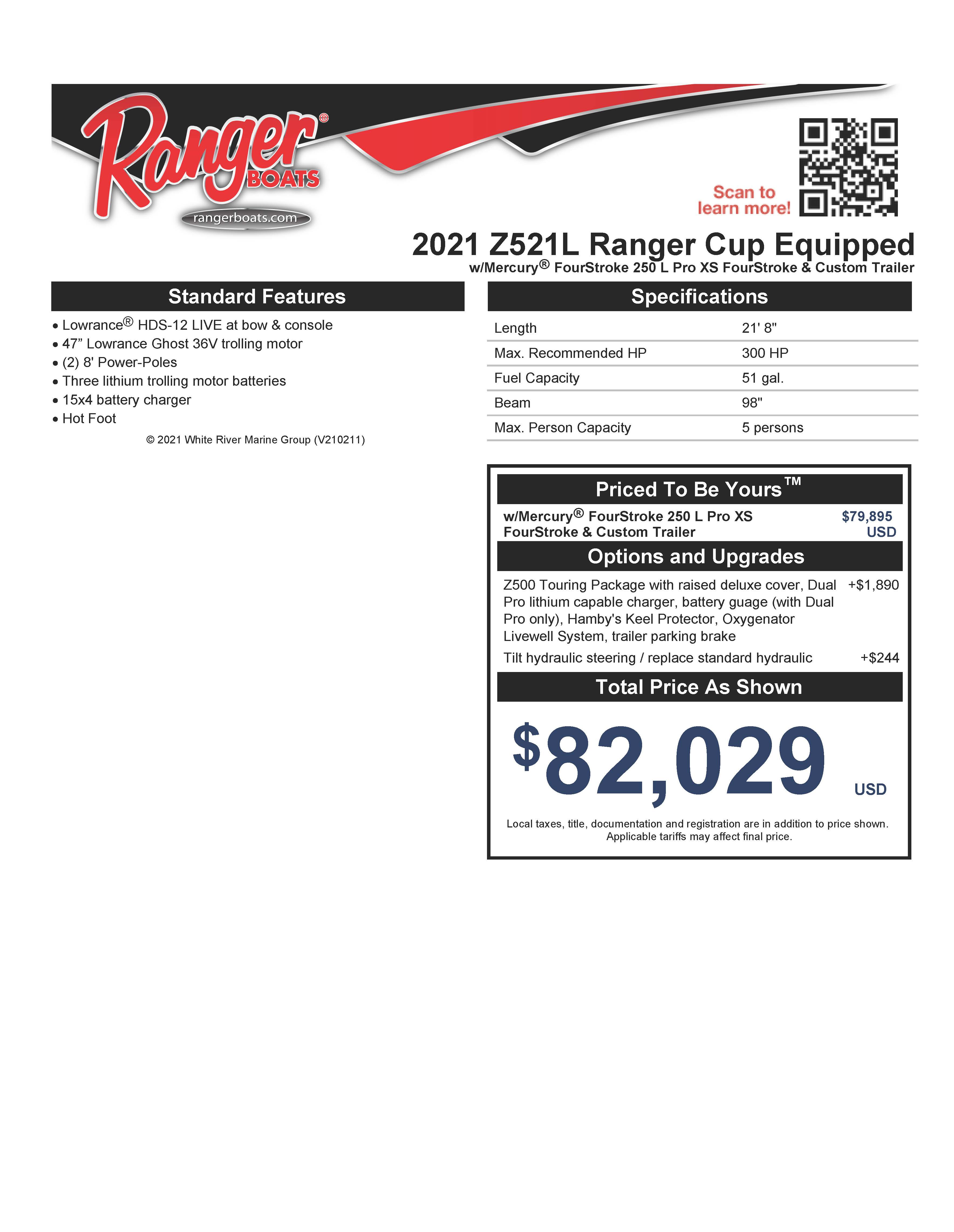 2021 Ranger Boats boat for sale, model of the boat is Z521L RANGER CUP EQUIPPED & Image # 48 of 50