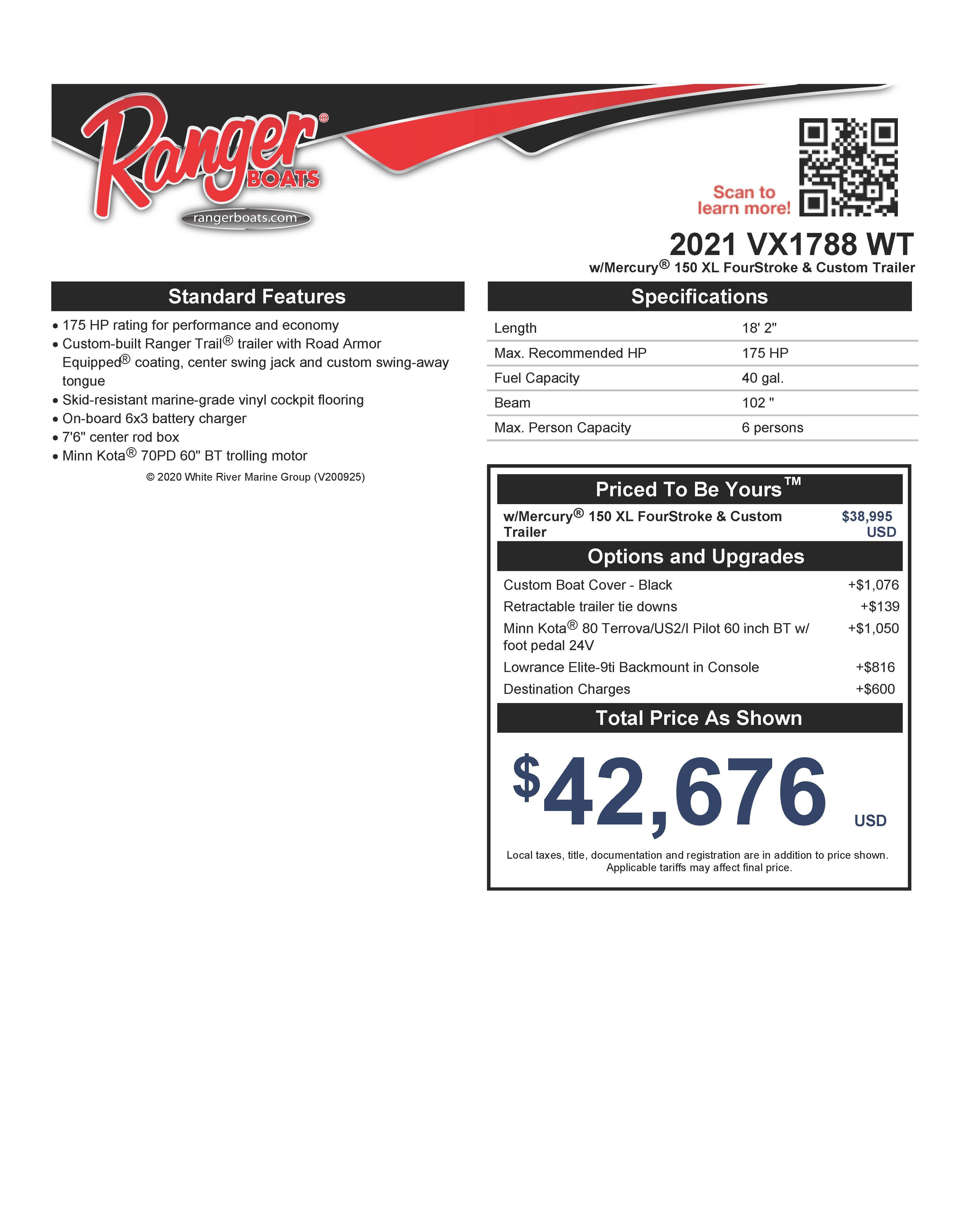 2021 Ranger Boats boat for sale, model of the boat is VX1788 WT w/150HP Mercury 4 Stroke & Image # 46 of 50