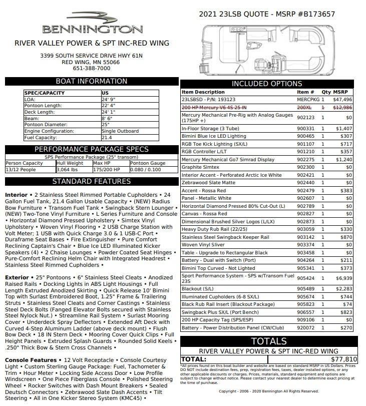 2021 BENNINGTON L SERIES 23 LSB - SWINGBACK