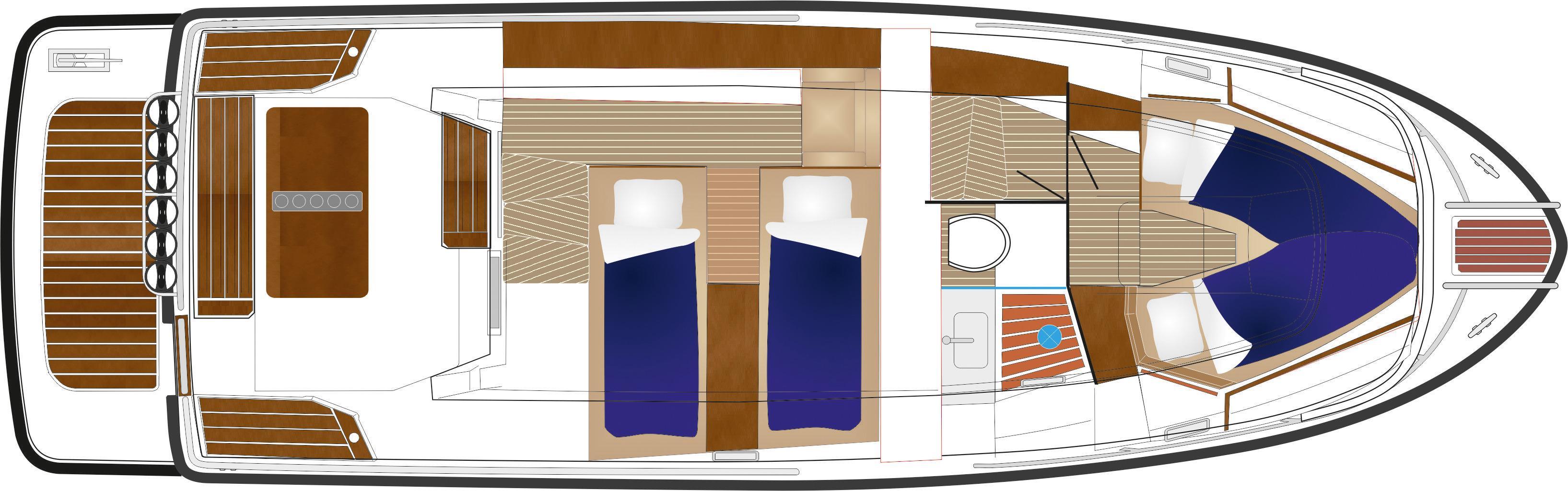 Sargo 33 Explorer - lower deck plan