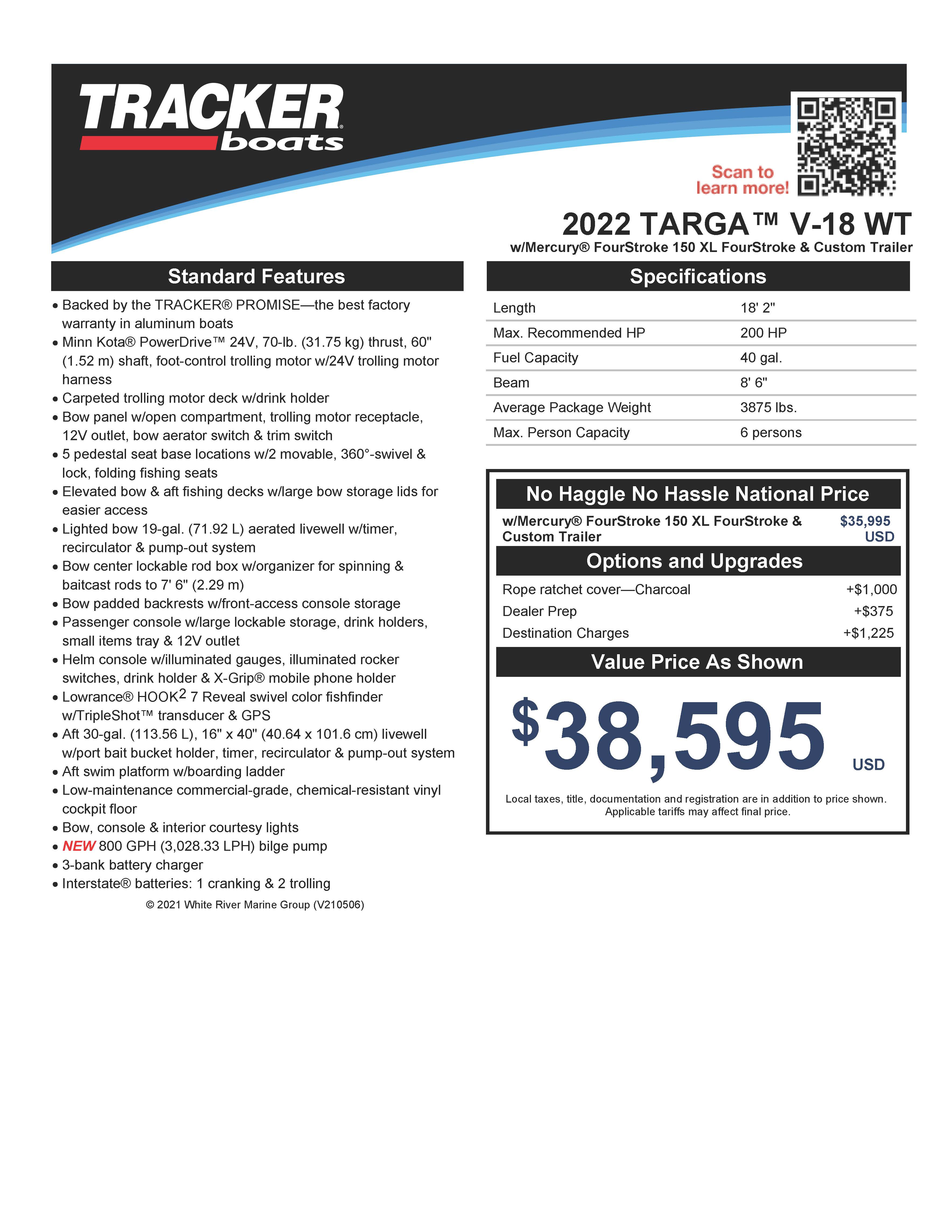 2022 Tracker Boats boat for sale, model of the boat is TARGA V-18 WT w/150HP 4 Stroke & Image # 43 of 50