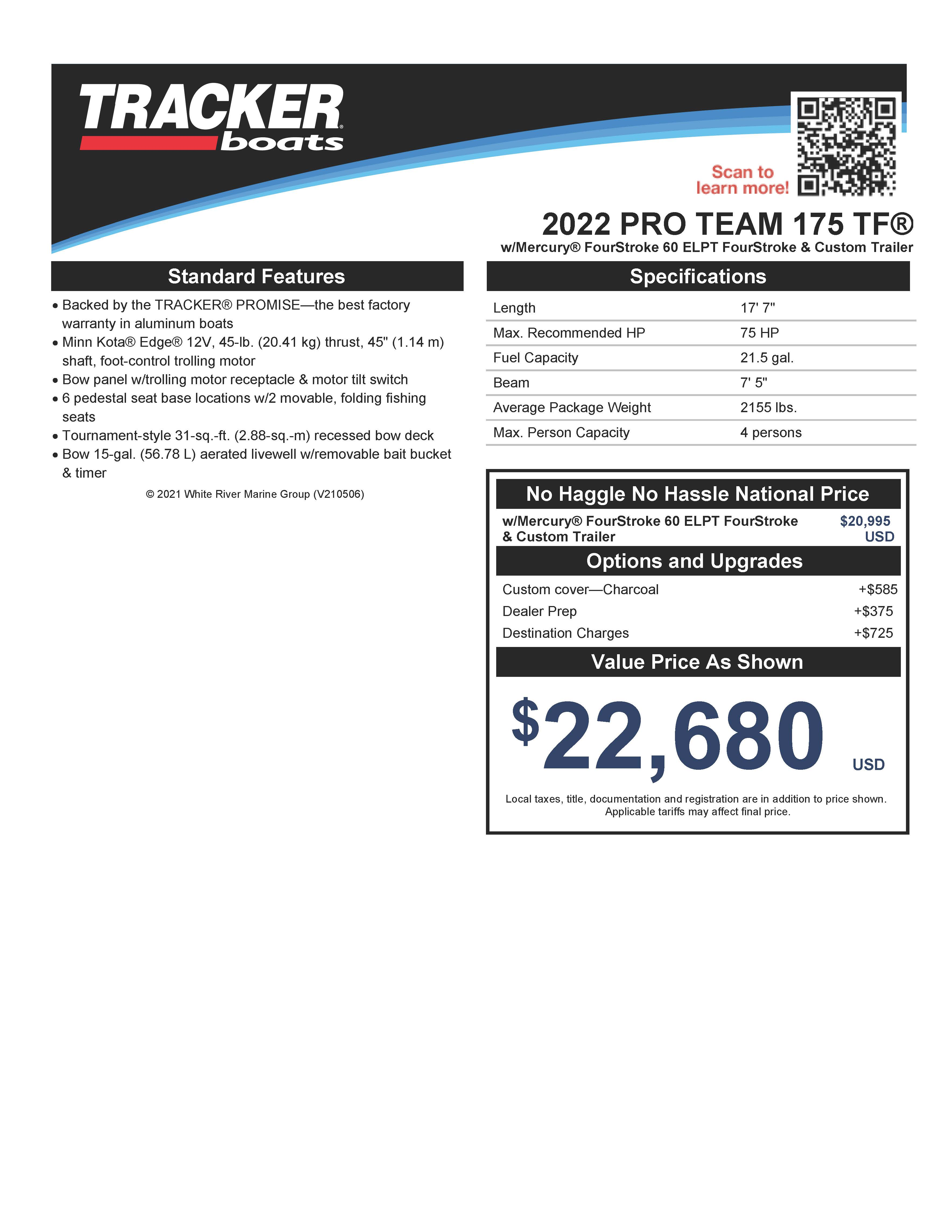 2022 Tracker Boats boat for sale, model of the boat is PRO TEAM 175 TF w/60HP Mercury 4 Stroke & Image # 46 of 50