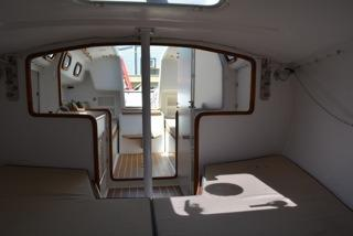 Interior V berth looking aft