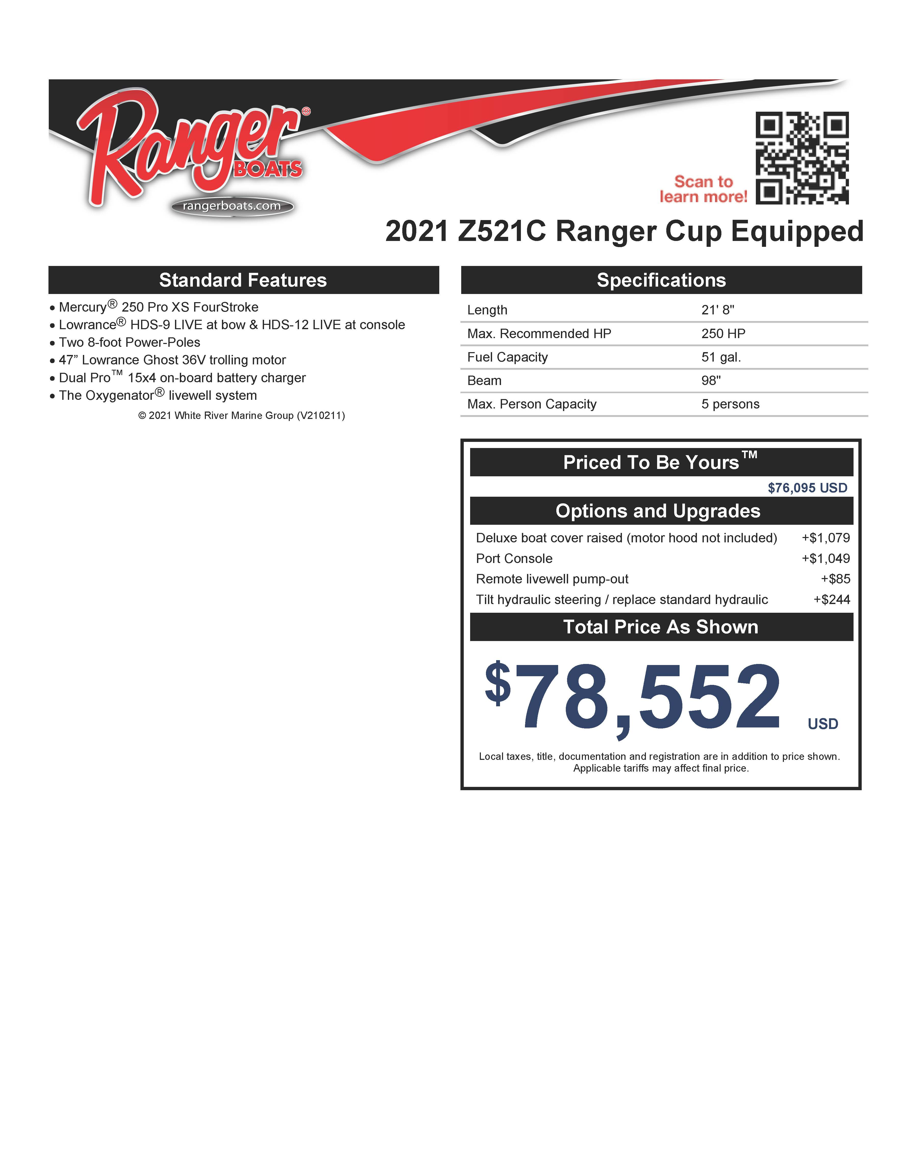 2021 Ranger Boats boat for sale, model of the boat is Z521C Ranger Cup Equipped DUAL CONSOLE & Image # 32 of 50