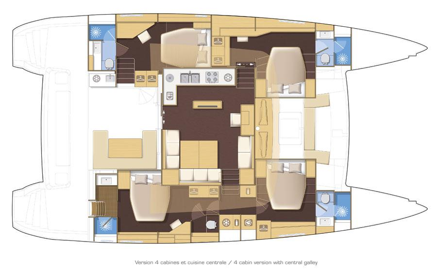 Manufacturer Provided Image: Lagoon 560 S2 4 Cabin Layout Plan