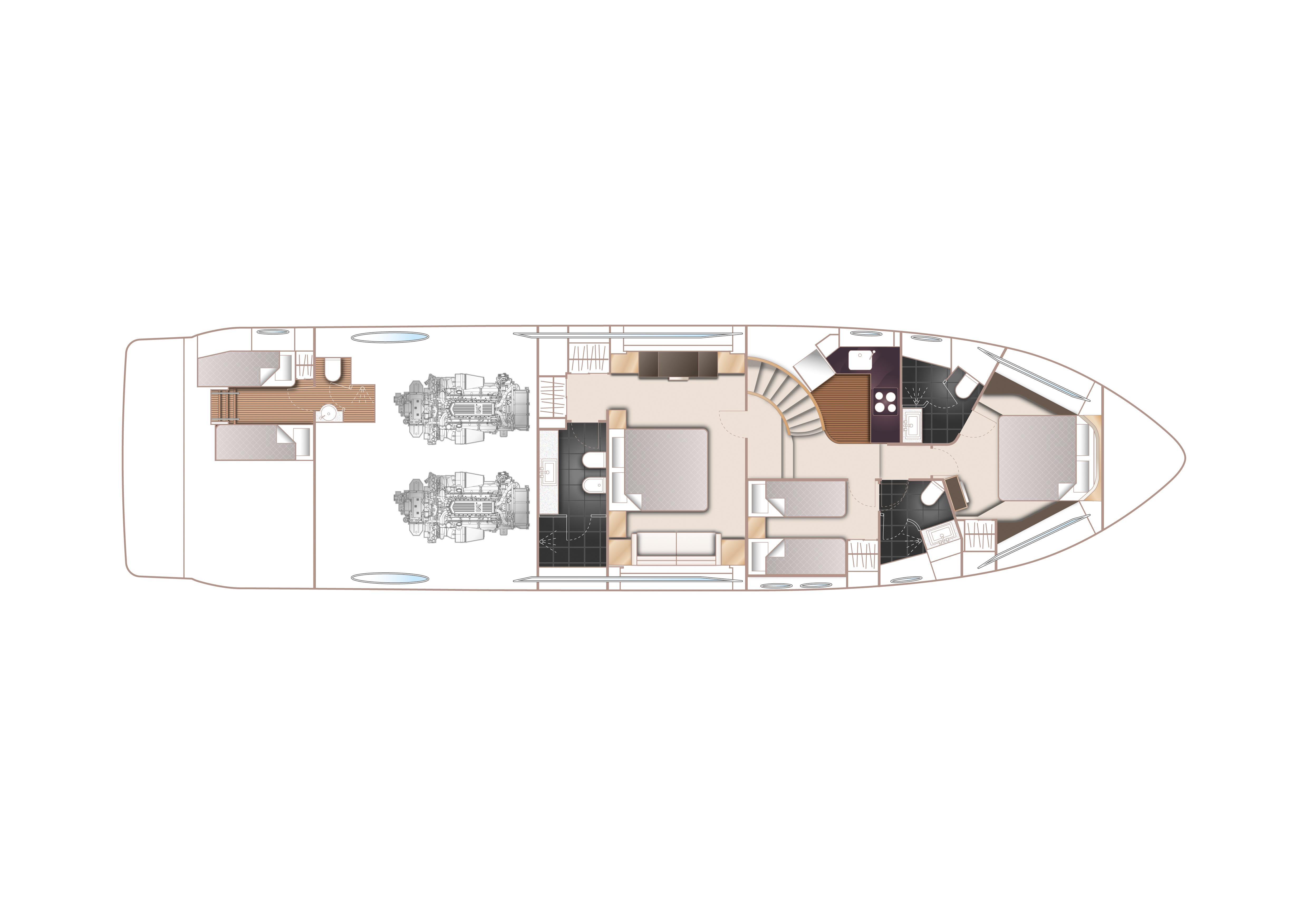 Manufacturer Provided Image: Princess S72 Lower Deck Layout Plan