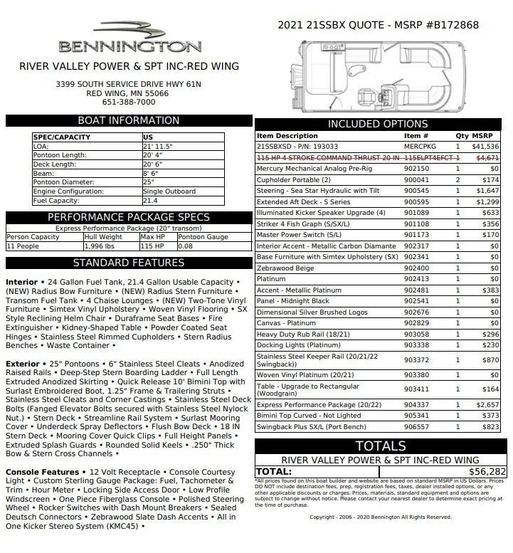 2021 BENNINGTON SX Series 21 SSBX - SWINGBACK
