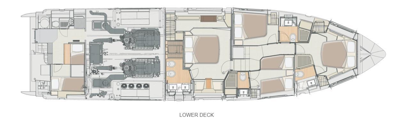 72 Azimut Fly, Lower Deck