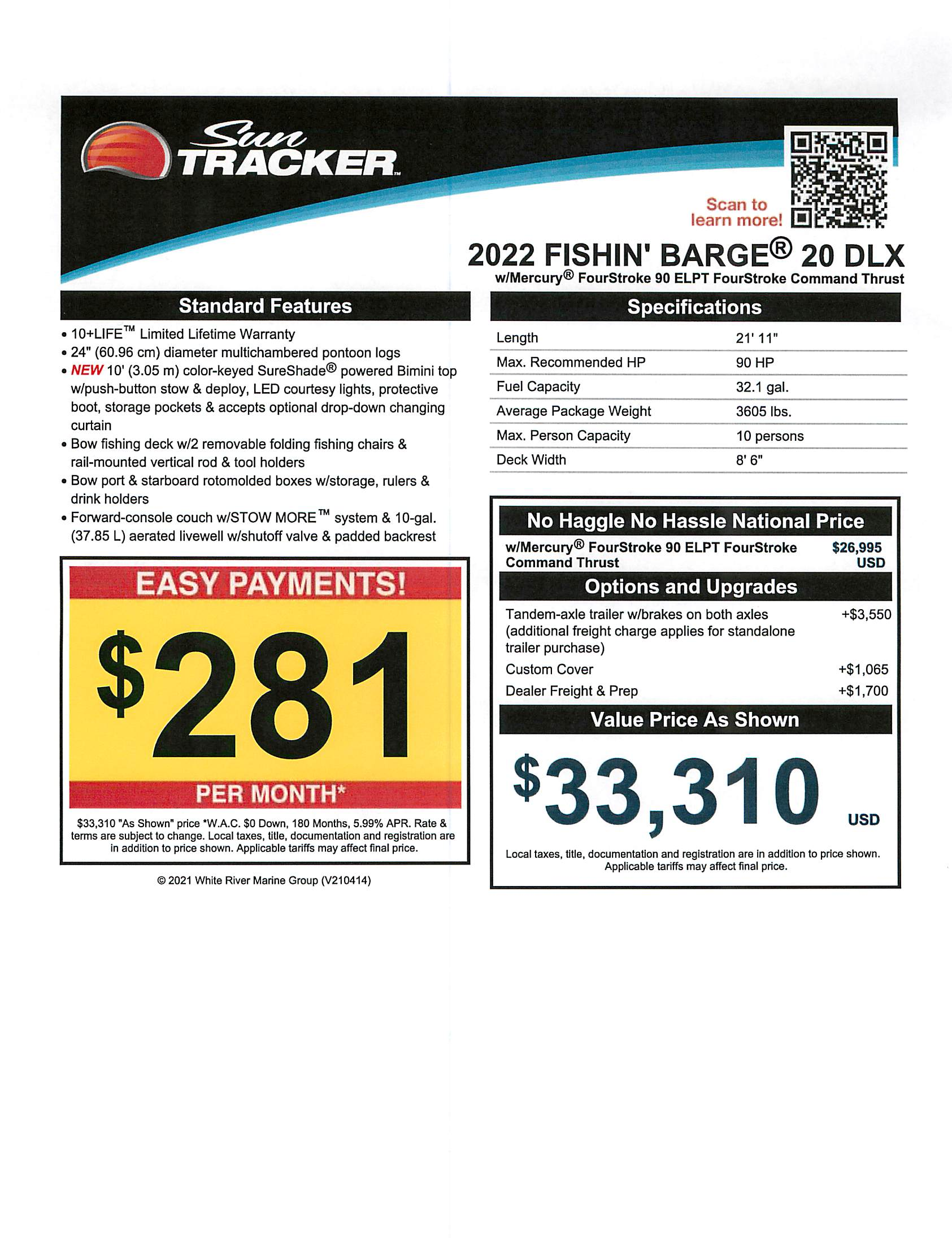 2022 Sun Tracker boat for sale, model of the boat is Fishin Barge 20 DLX & Image # 2 of 2
