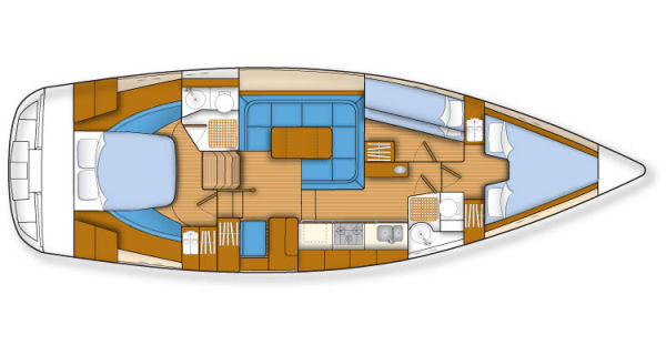 Southerly 42 RST Layout - 3 cabins with 2 heads