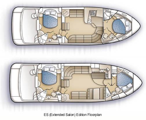 Carver 444 Cockpit Motor Yacht - Bottom Floorplan on this model