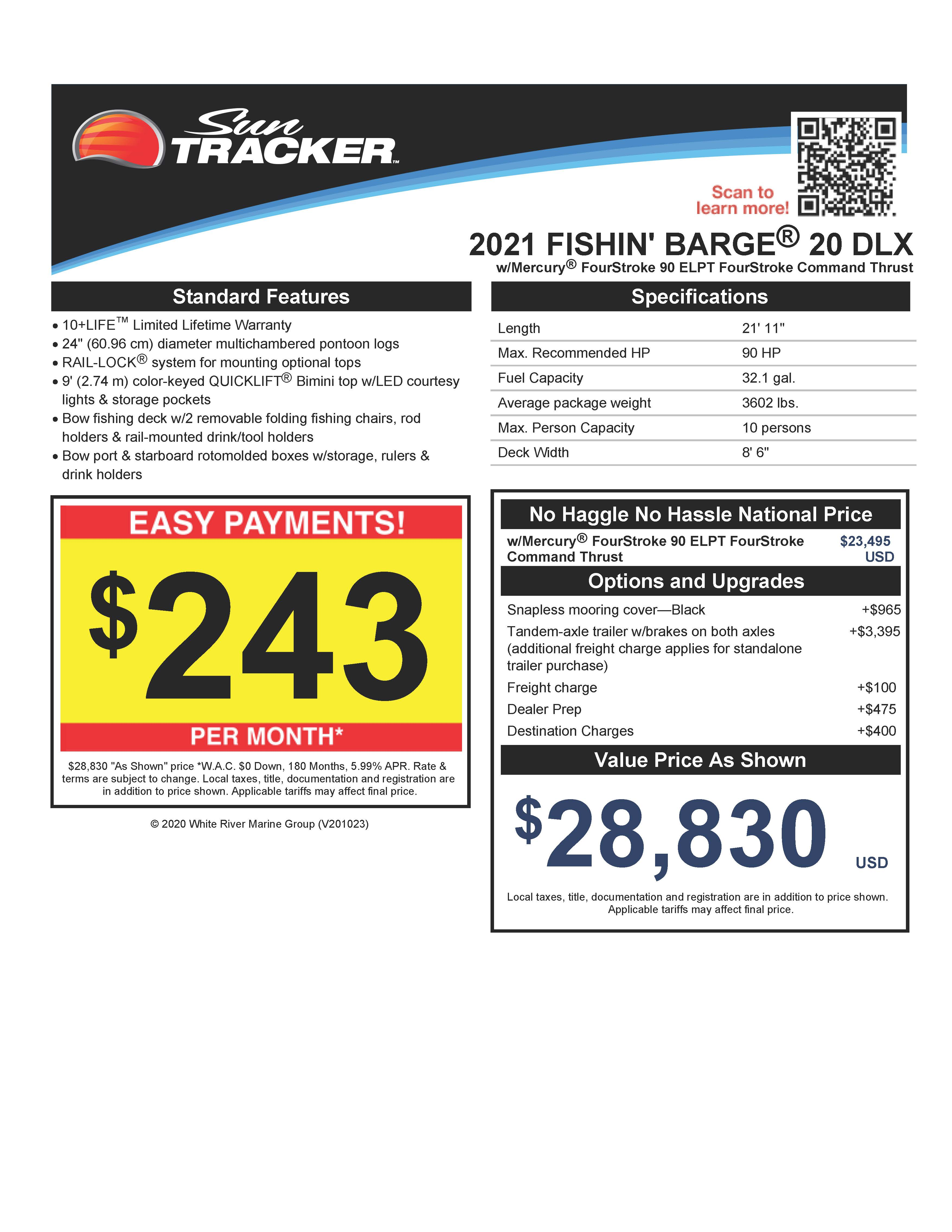 2021 Sun Tracker boat for sale, model of the boat is Fishin' Barge 20 DLX & Image # 28 of 50