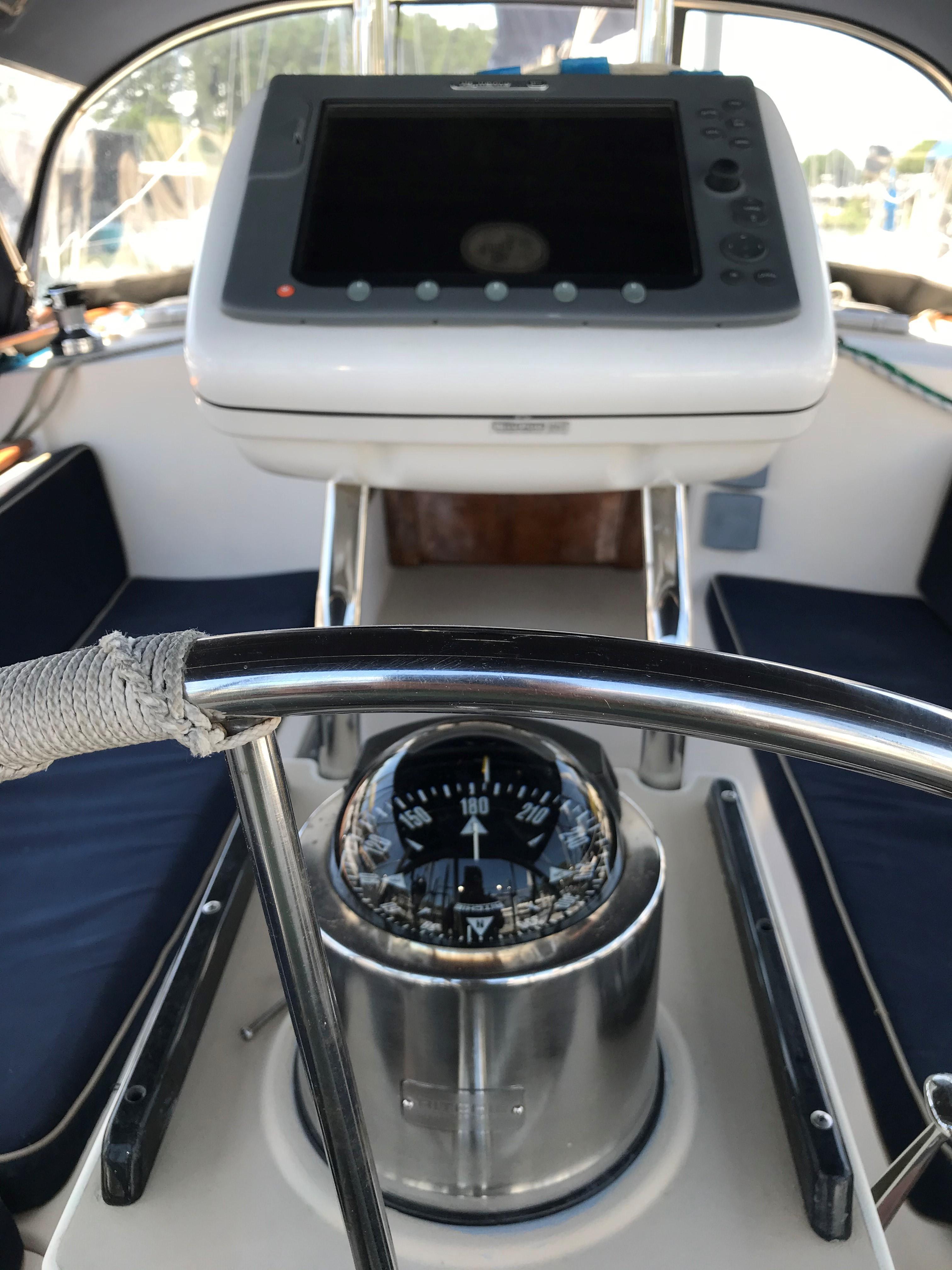 Helm w/navigation instruments & new compass
