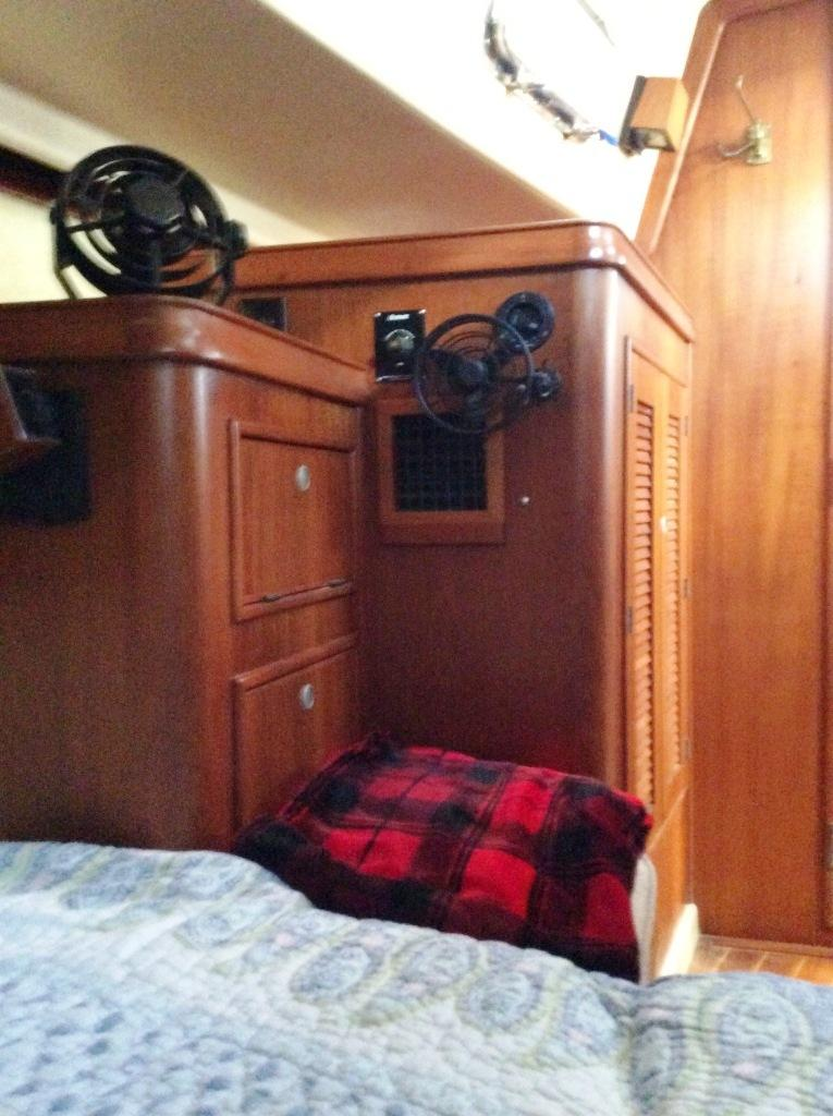 Hanging locker and drawers in aft stateroom