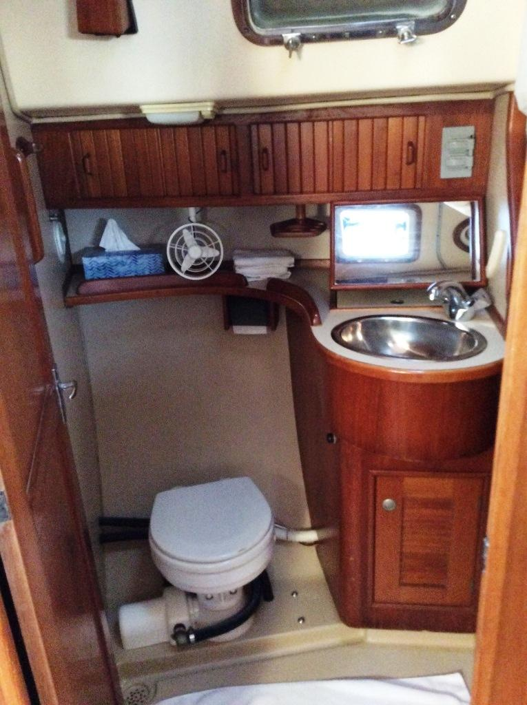 Aft head  commode and sink