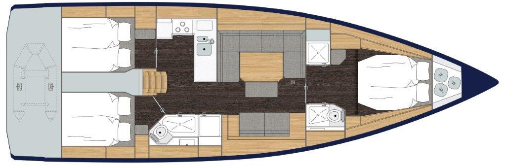 Optional 3 Cabin, 2 head layout with dinghy garage