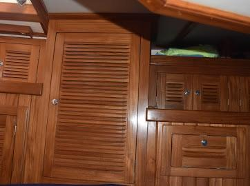 Aft cabin storage - look at that teak