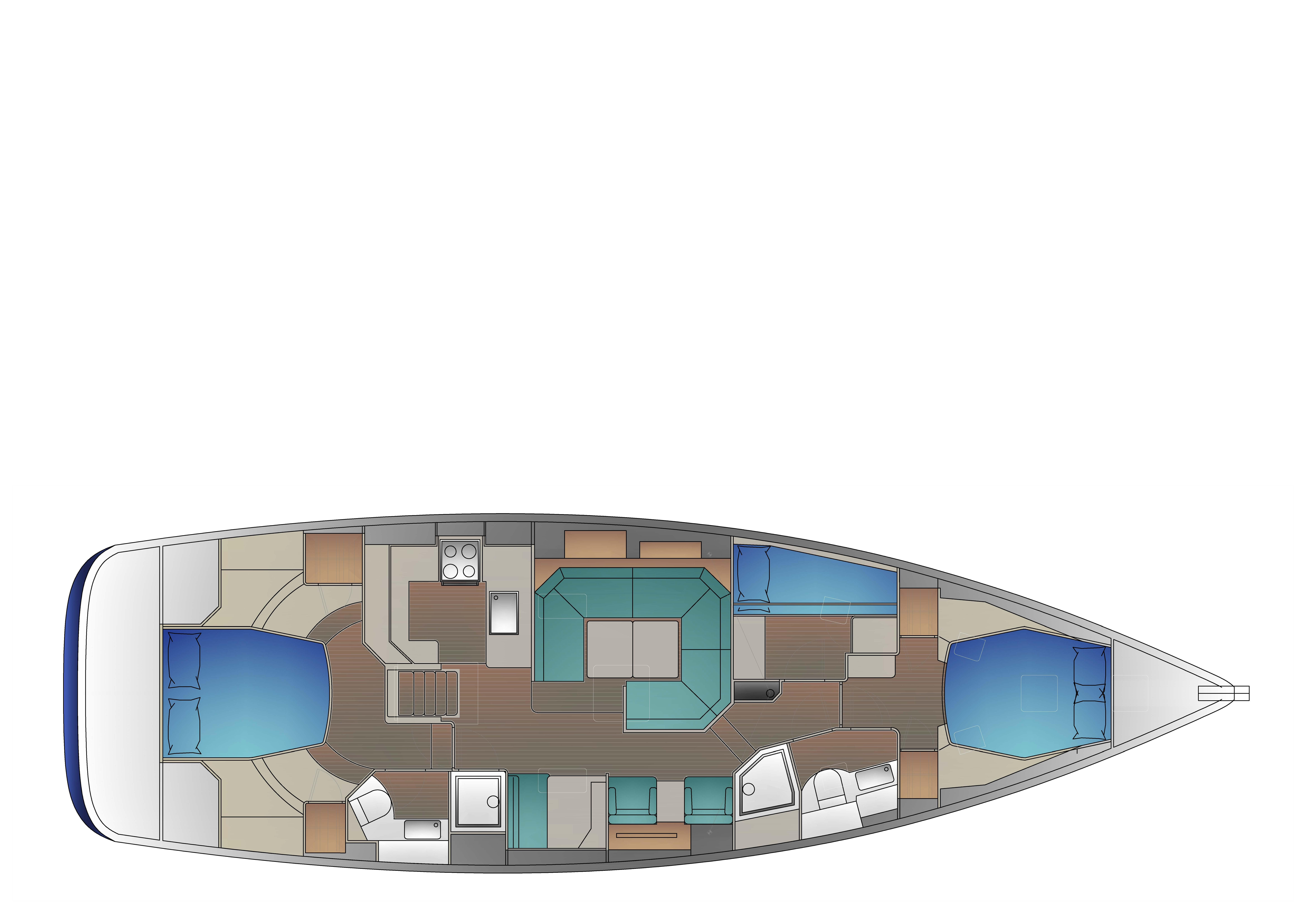 2-cabin layout with island berth forward