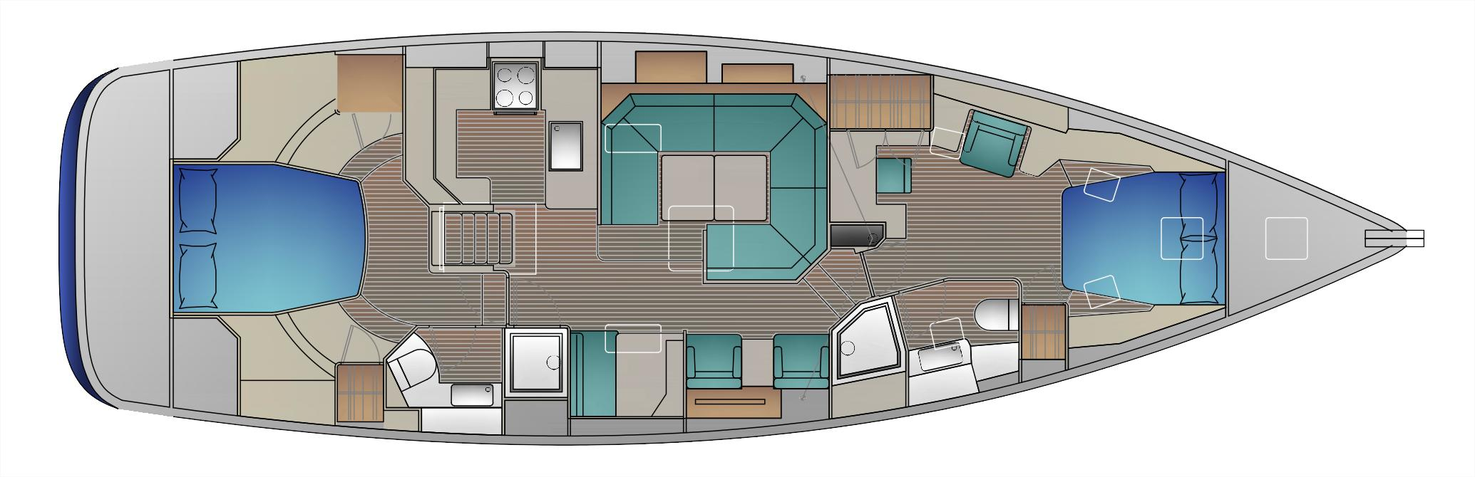 2-cabin layout with owner