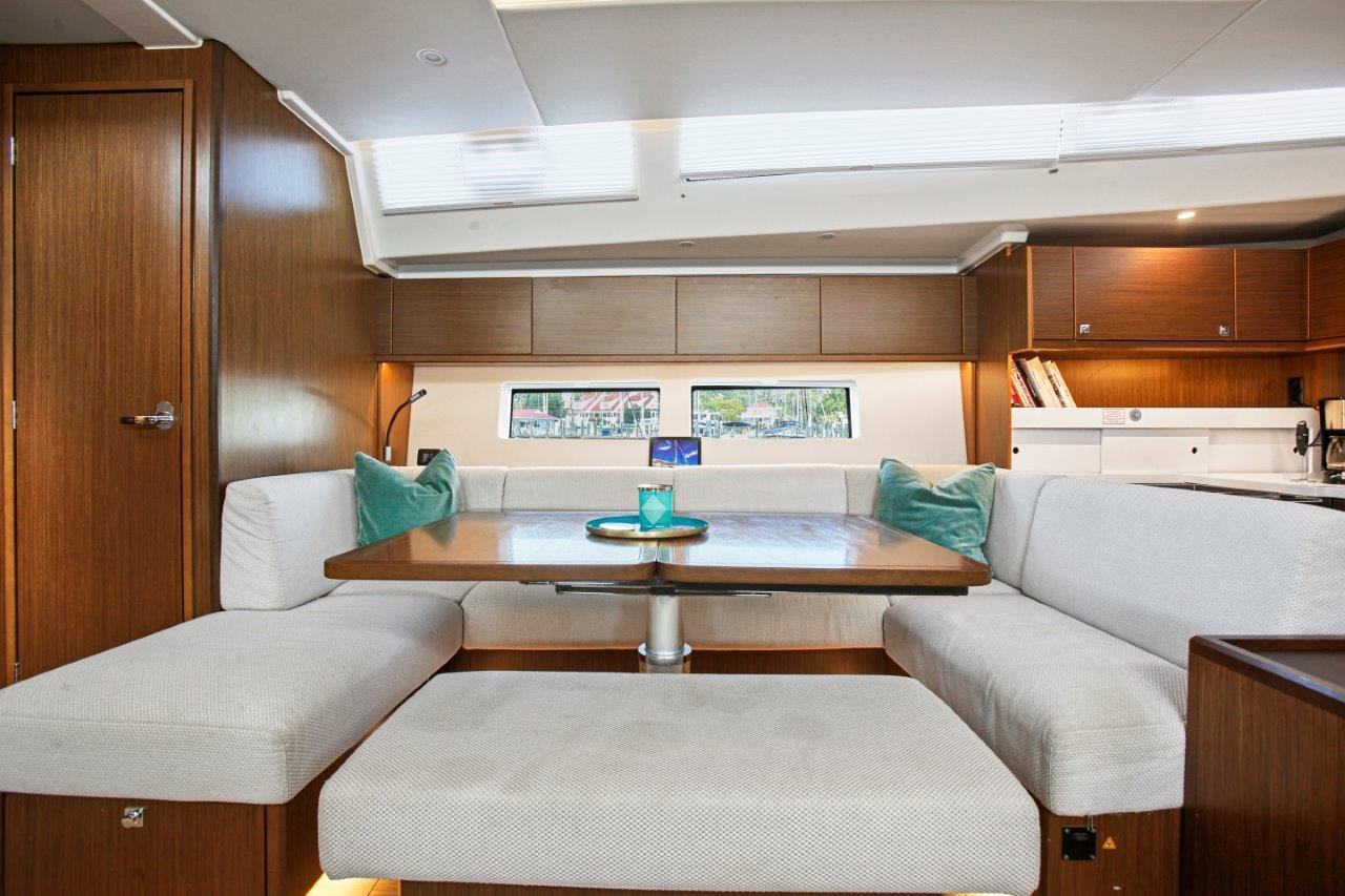 The seating area converts to a large berth