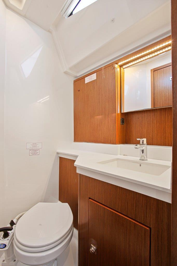Port aft toilet and vanity