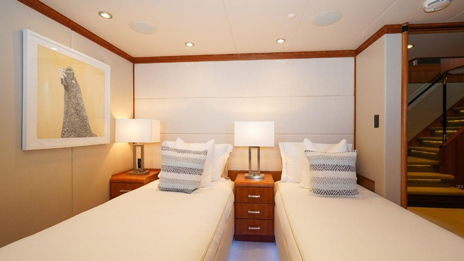 1997 Christensen 155' ''LOON'' - Lower Port Forward Stateroom in twin configuration