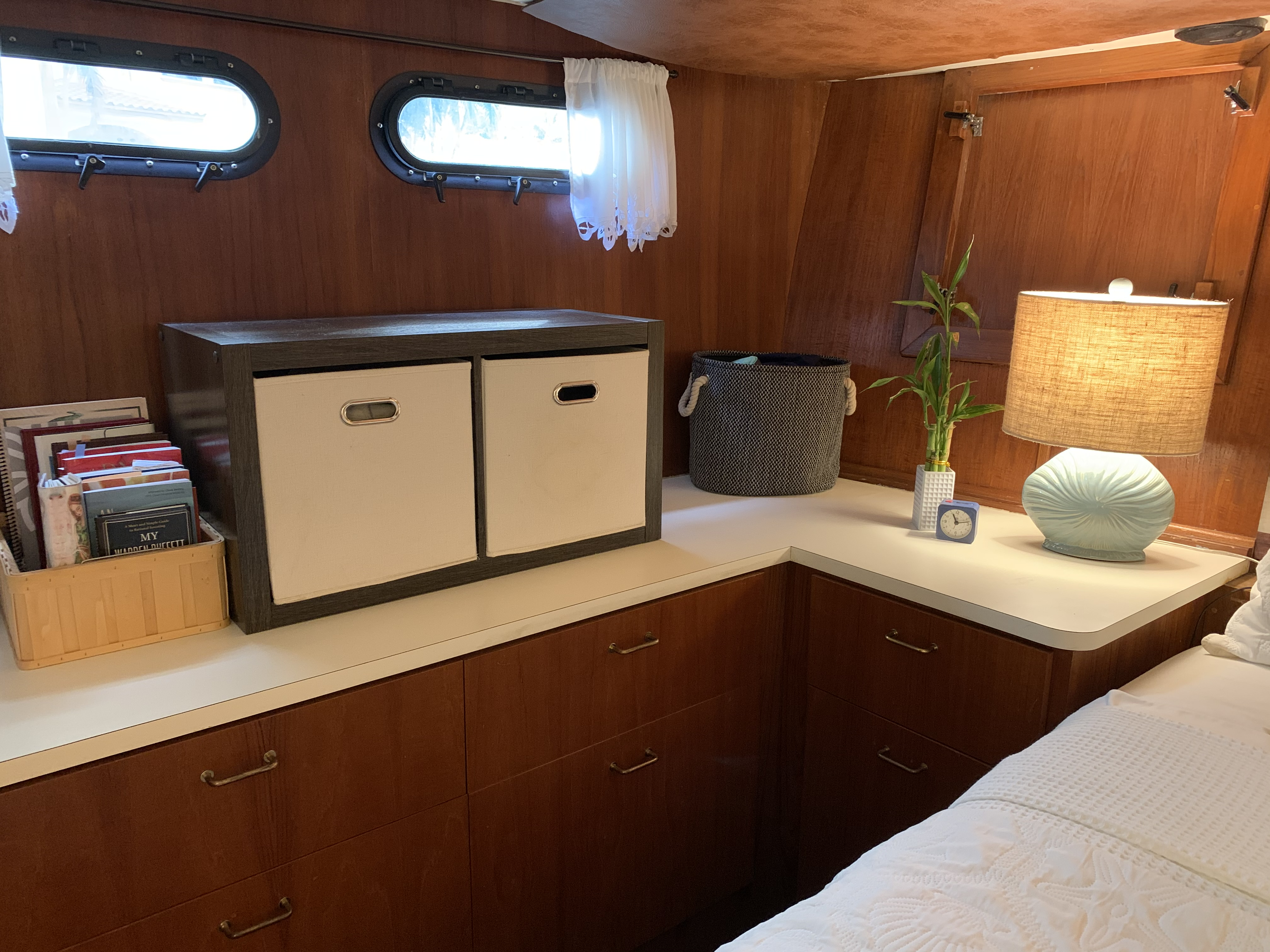 Master stateroom storage cabinets