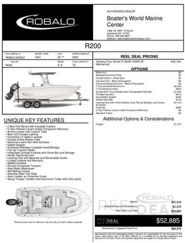 2021 ROBALO R200 for sale