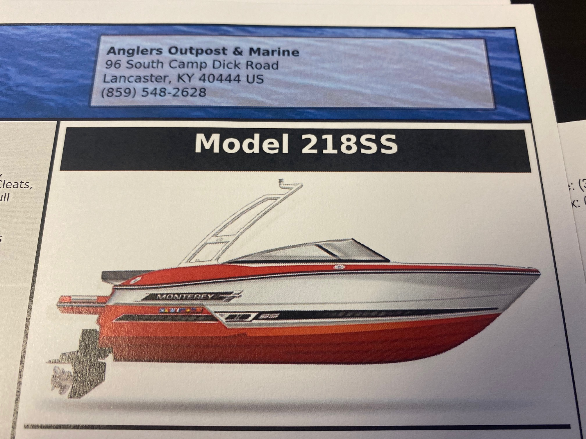 2021 MONTEREY 218SS (On order, secure your boat now!)