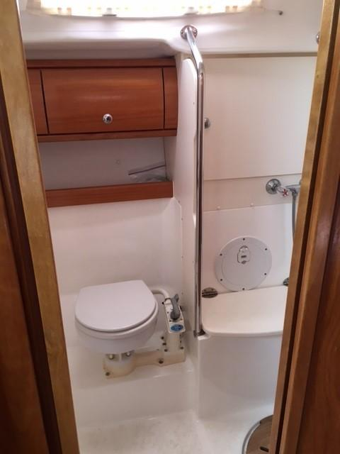 Aft head with separate shower stall
