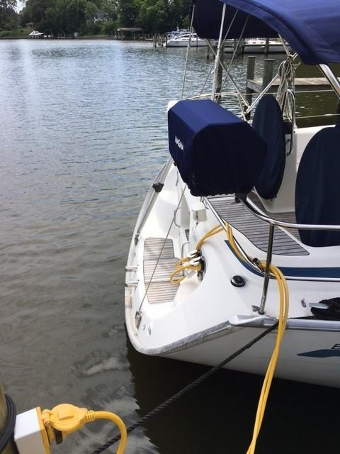 Transom with grill mounted