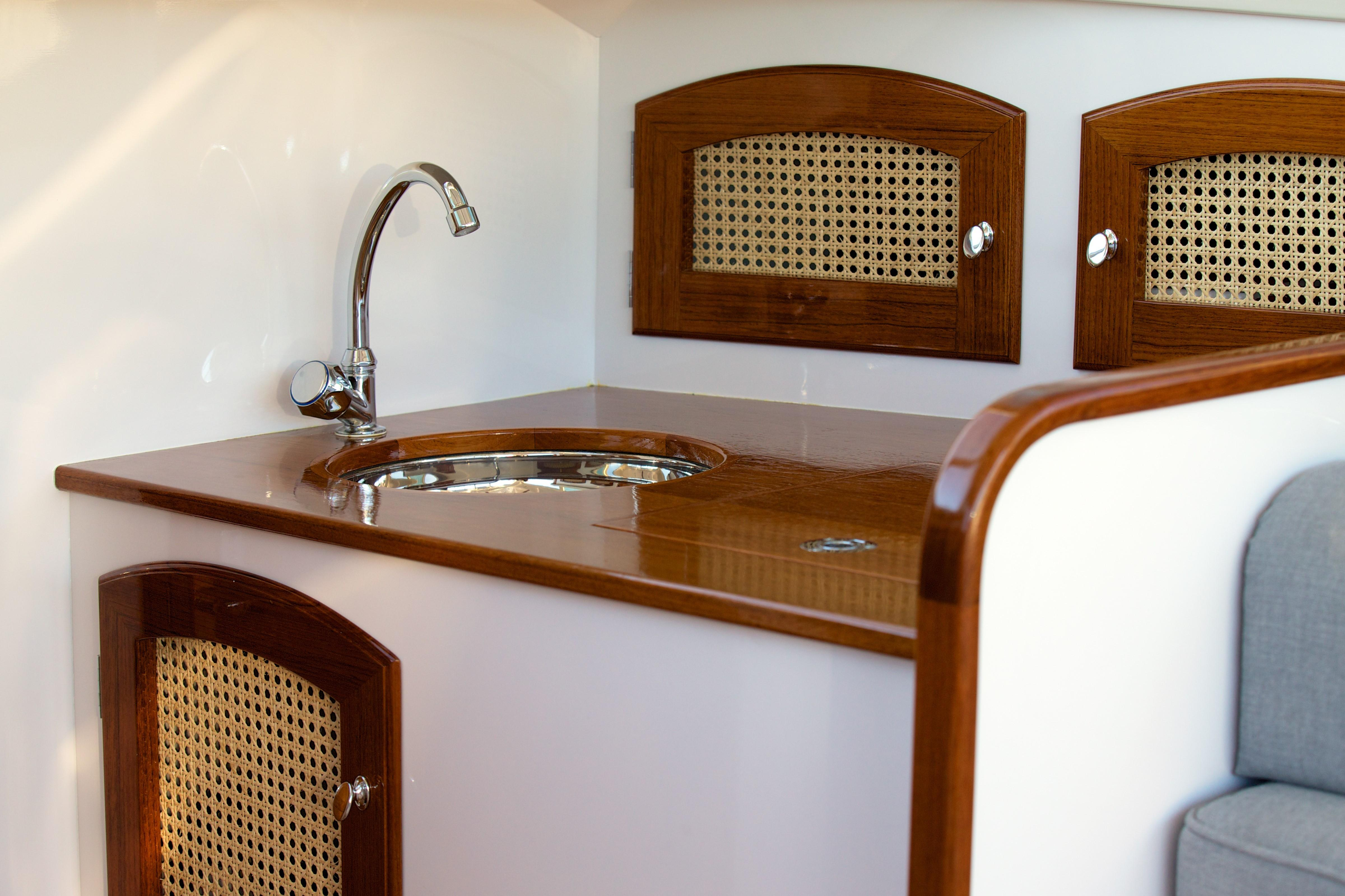 Teak and Cane Cabinetry