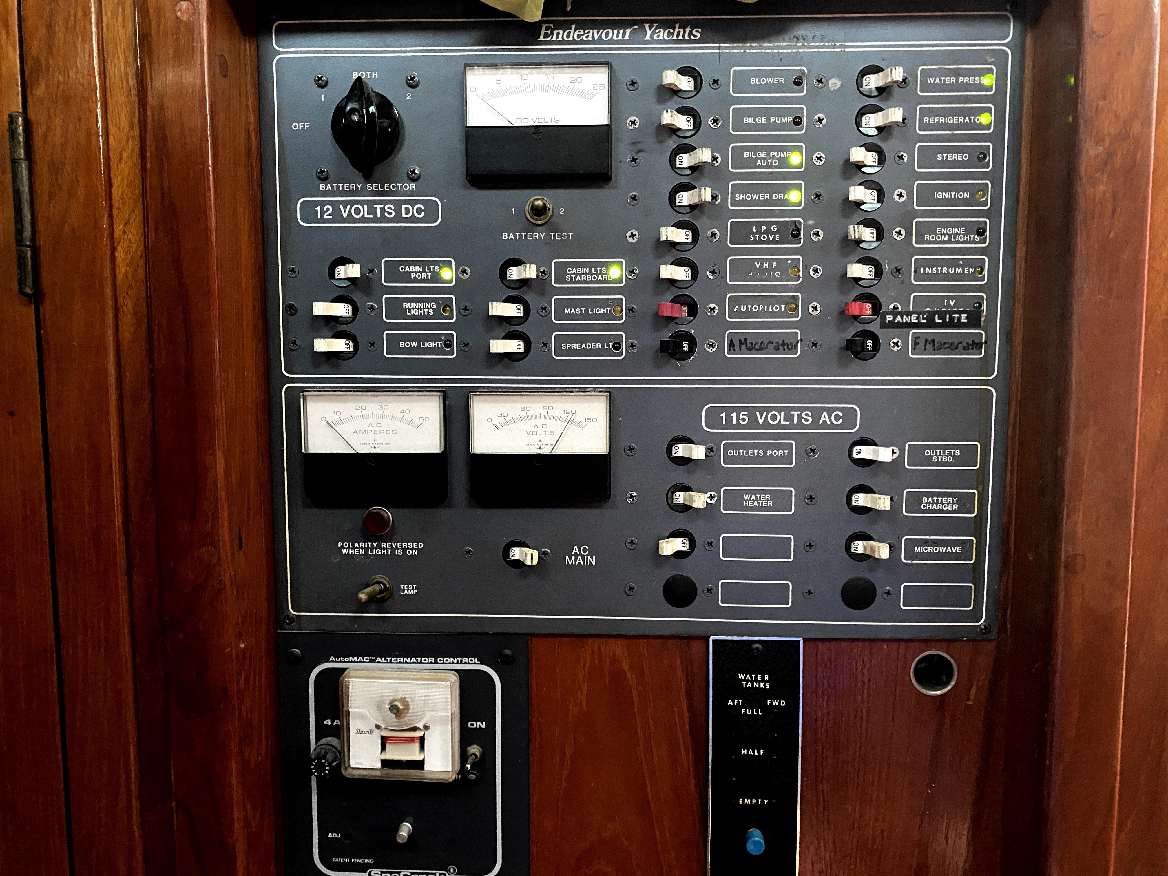 Endeavour 40 Center Cockpit - AC/DC electric panel