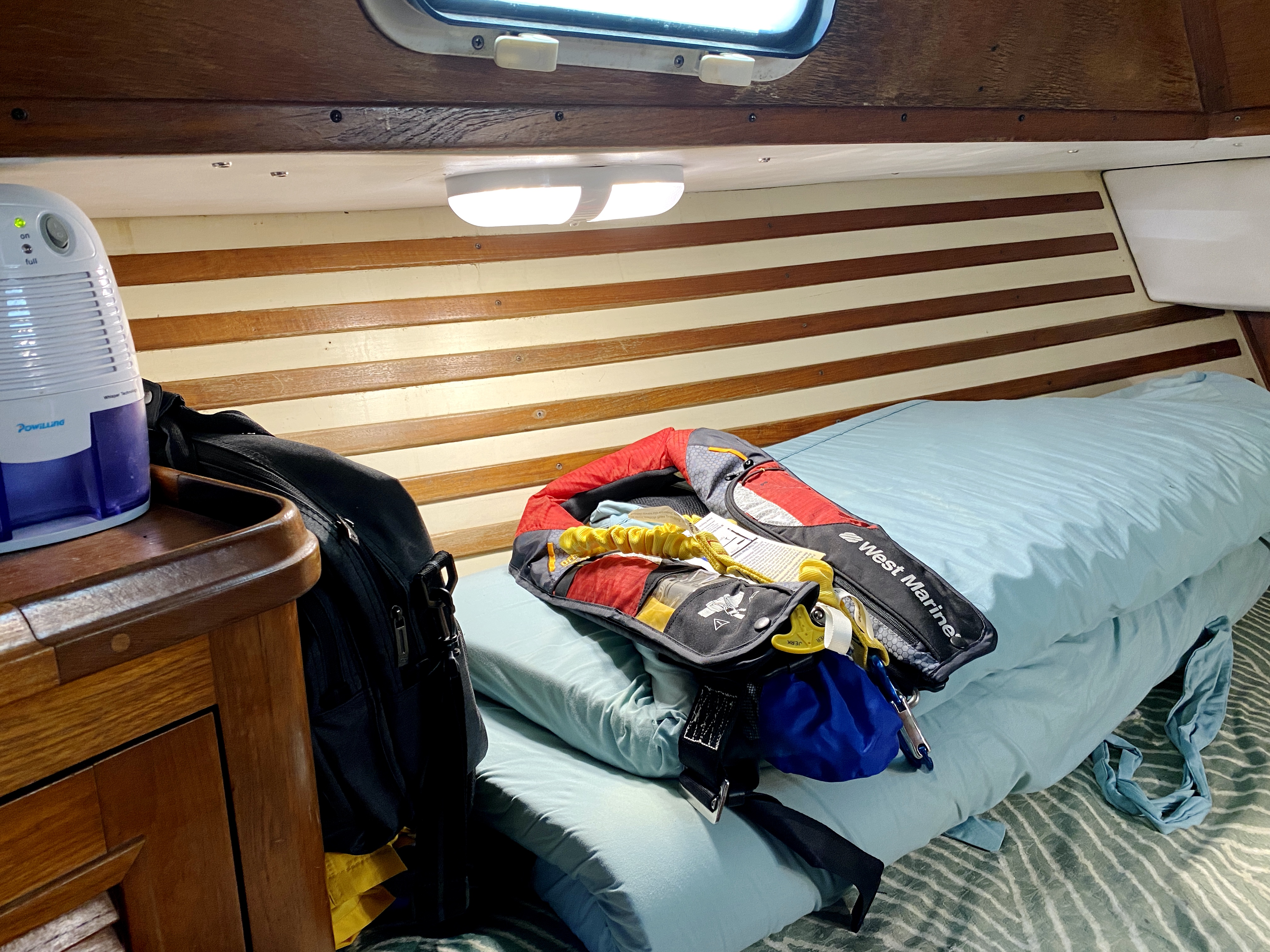 Endeavour 40 Center Cockpit - port view v-berth with custom mattress topper
