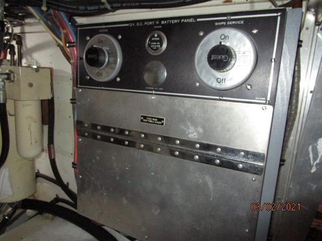 48' Hatteras engine room port electrical panel
