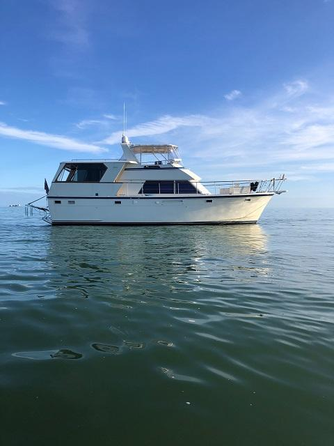 48' Hatteras starboard profile