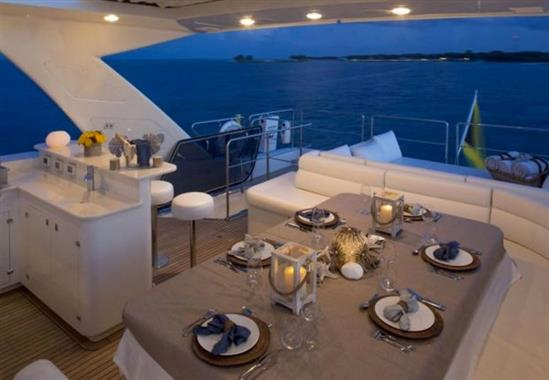 2011 Custom Line 97' ''Soleado'' - Flybridge Dining Table