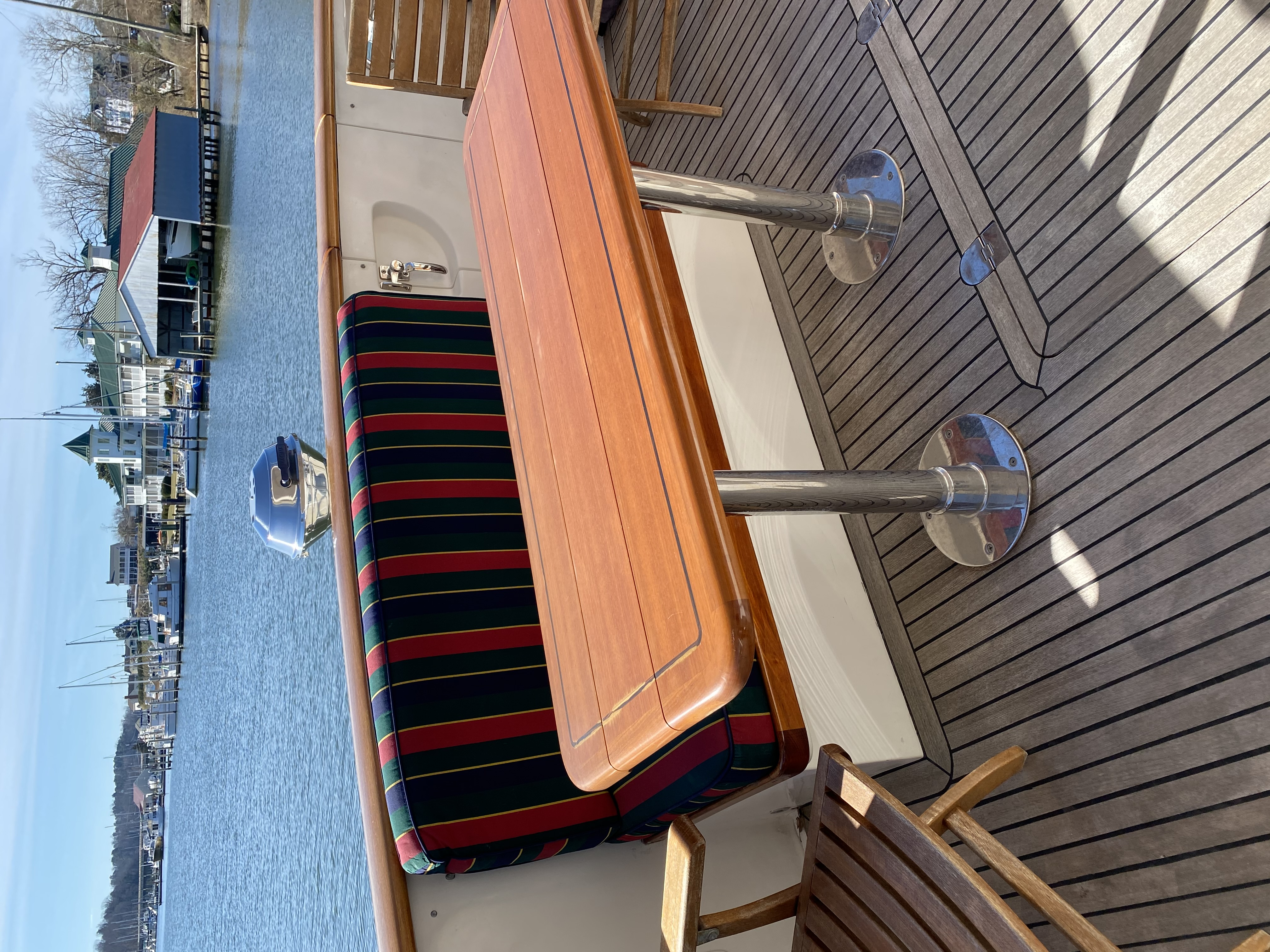 """""""Three Bells"""" aft deck seating and table"""