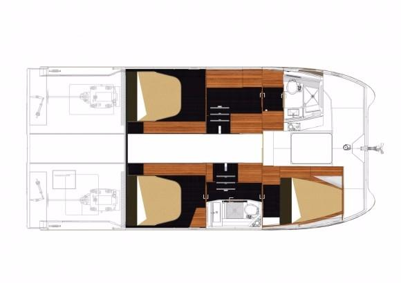 Manufacturer Provided Image: Fountaine Pajot MY 37 Flybridge Cabin Layout Plan