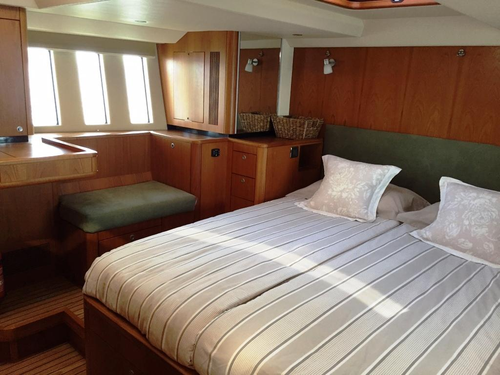 A stunning master stateroom with great headroom