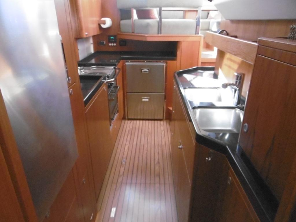 Galley is lower providing less motion at sea