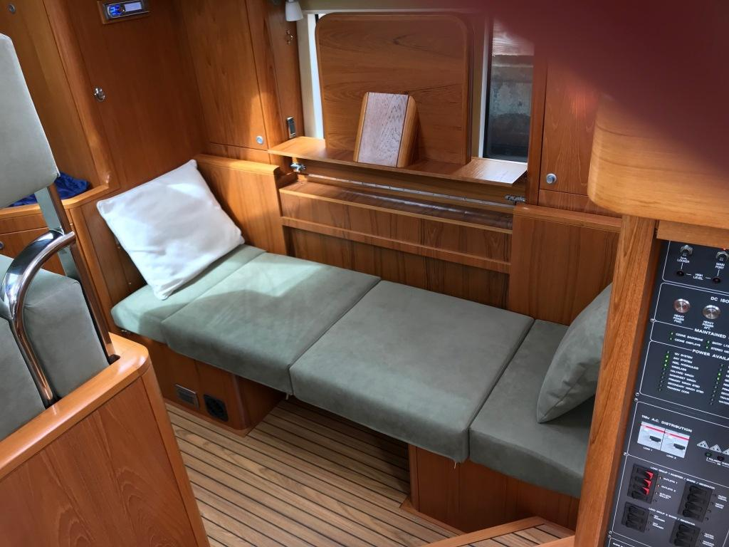Seating area converts to a sea berth