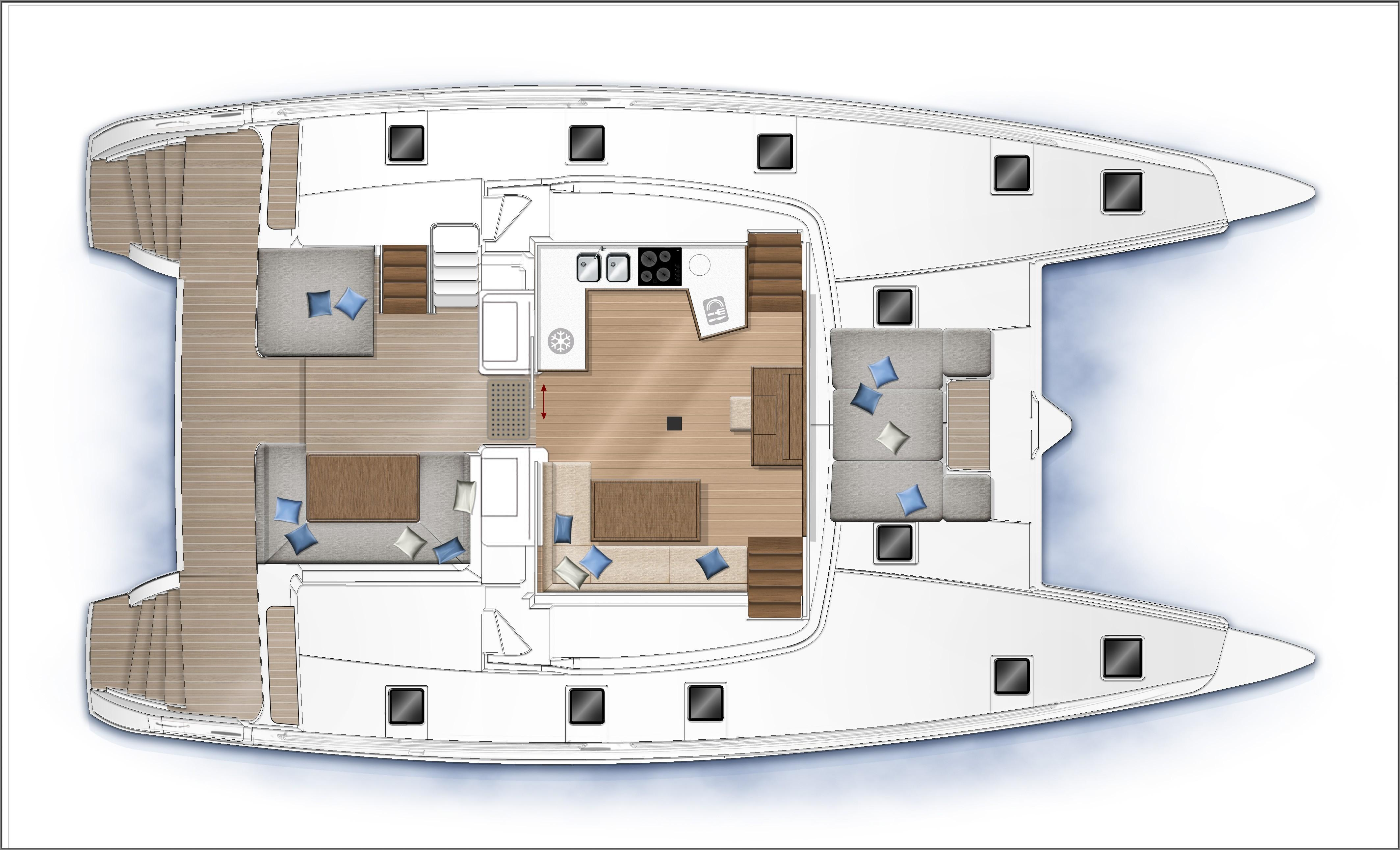 helloManufacturer Provided Image: Lagoon 52 F Upper Deck Layout Plan