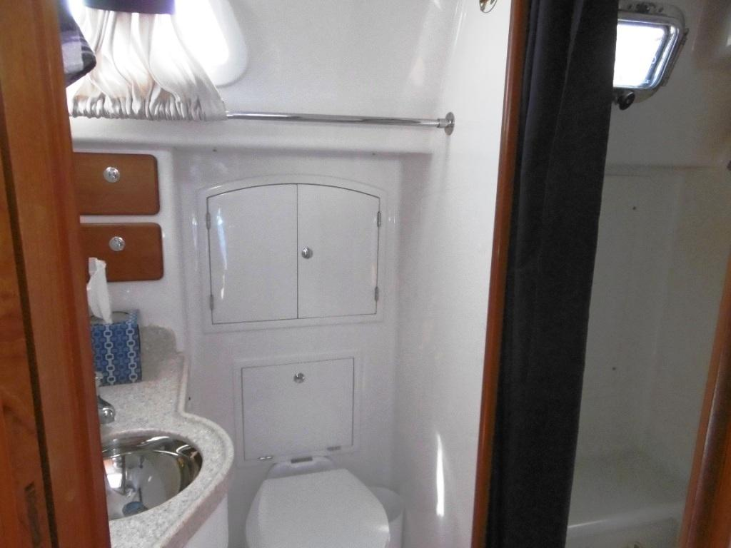 Aft head with large separate shower