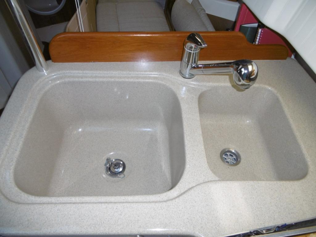 Double sinks in galley.