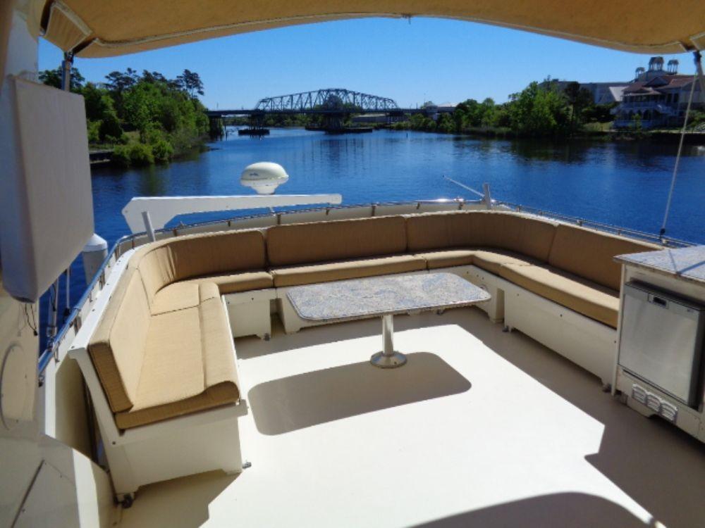 Hatteras 61 Motor Yacht - Bridge Seating, Davit and Sat TV