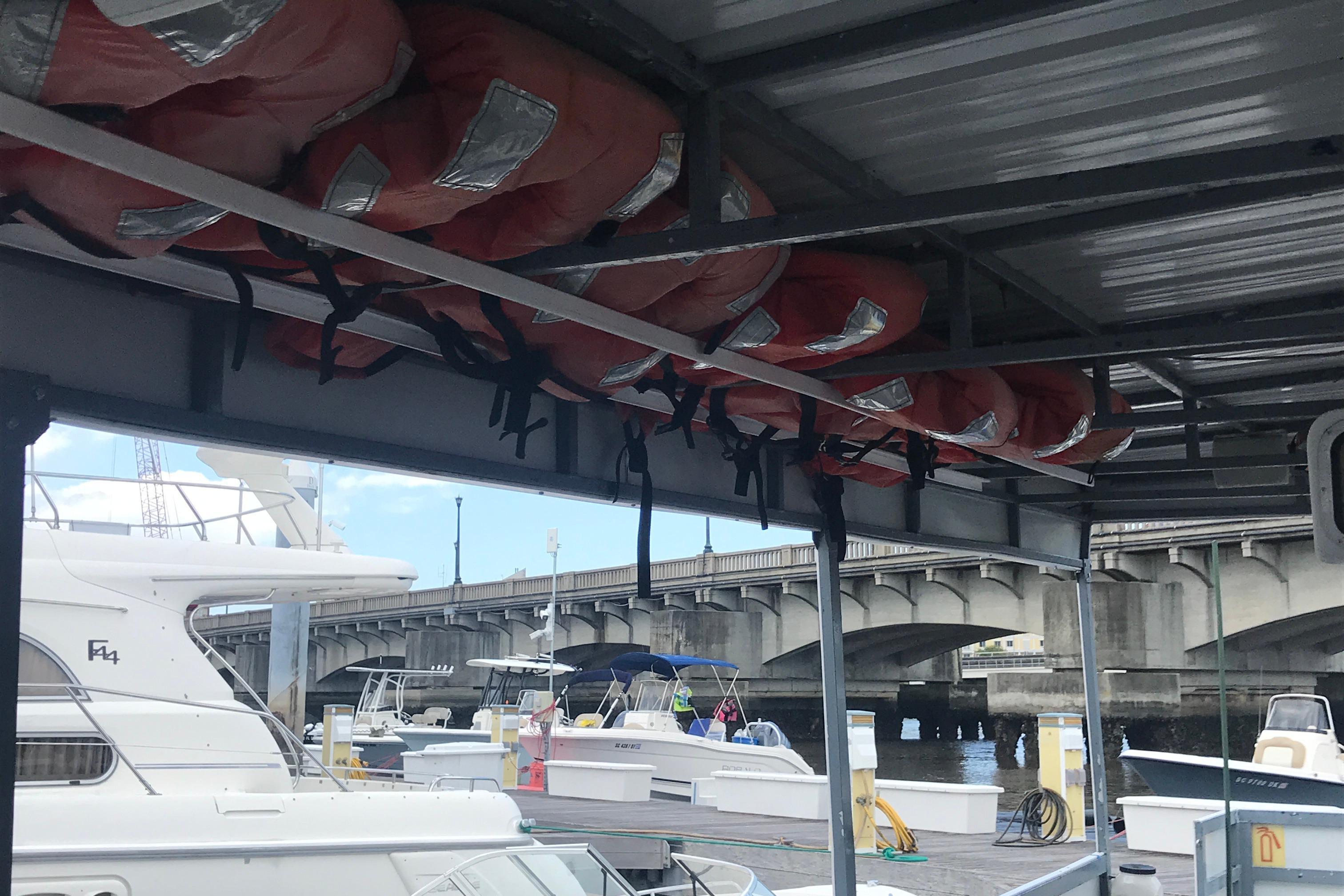 Southern Star 32 Commerical Catamaran - Port side overhead PFD storage