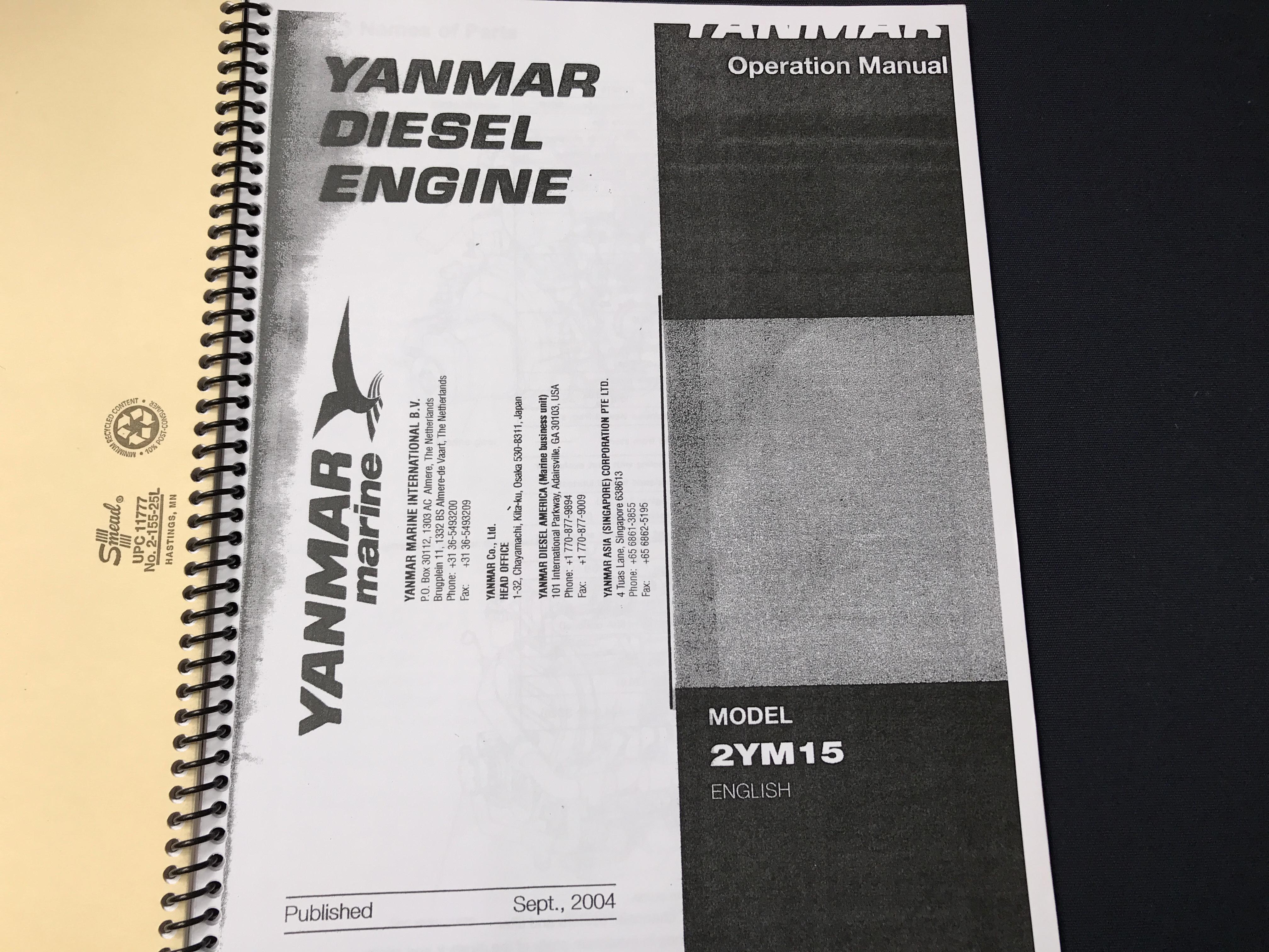 Cornish Crabbers Crabber 22 - Yanmar diesel owners manual
