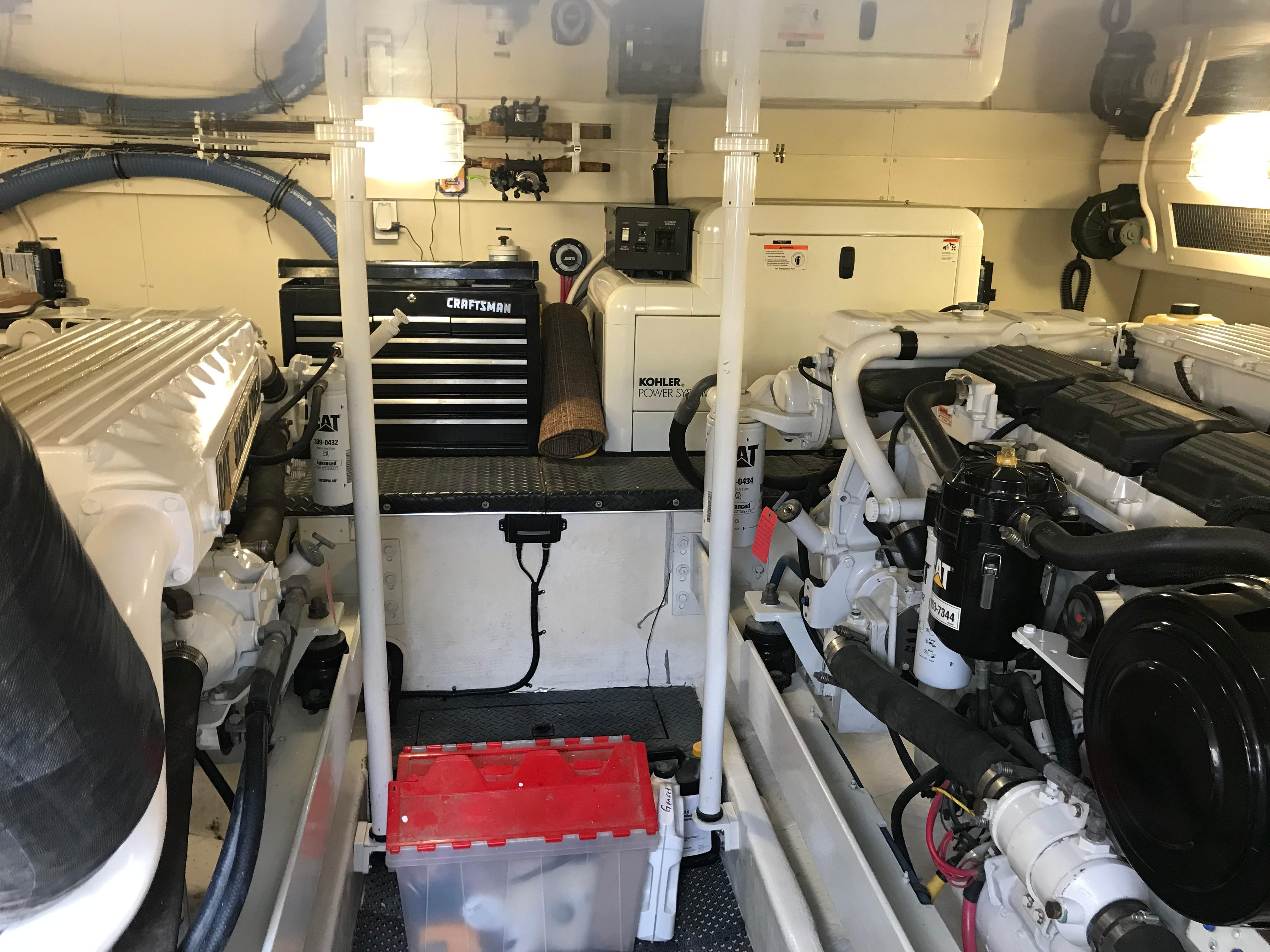 Silverton 48 Convertible - Engine Room looking forward